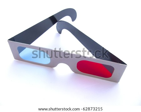 3D glasses on white backgroung - stock photo