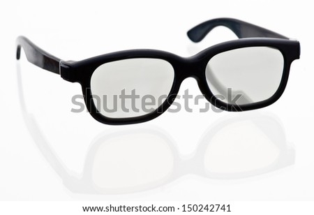 3-D glasses, Real-D system. One of the three technologies currently used for 3-D film - stock photo