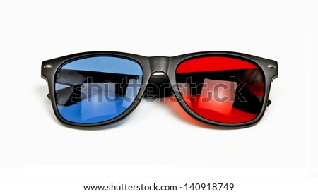 3D Glasses - Red Blue 3D Glasses Isolated on a White Background - stock photo