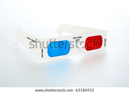3d glasses with space for your text and logo on white - stock photo