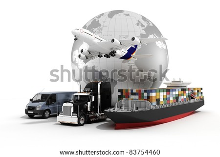 3d global business commerce concept - stock photo