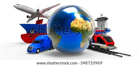 3D global cargo transport concept isolated on white. / 3d global cargo transport concept  - stock photo