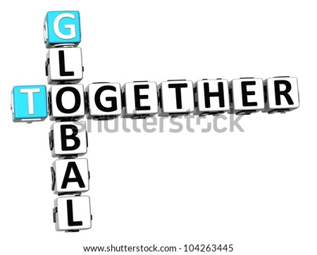 3D Global Together Crossword on white background