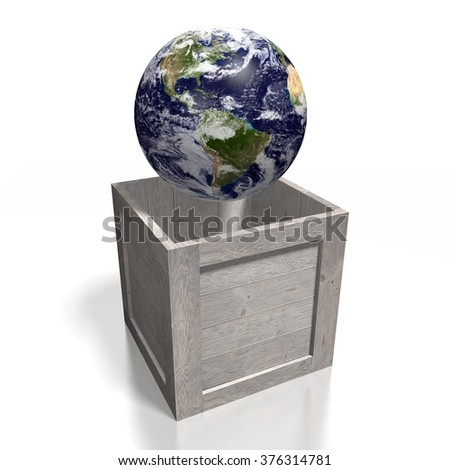3D global transport concept with and Earth. - stock photo