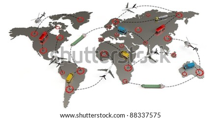 3d global transport routes concept on white background - stock photo