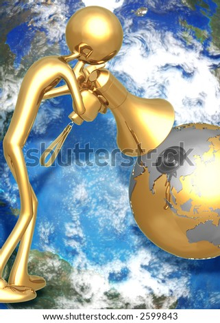 3D Globe Concept Shout To The World - stock photo