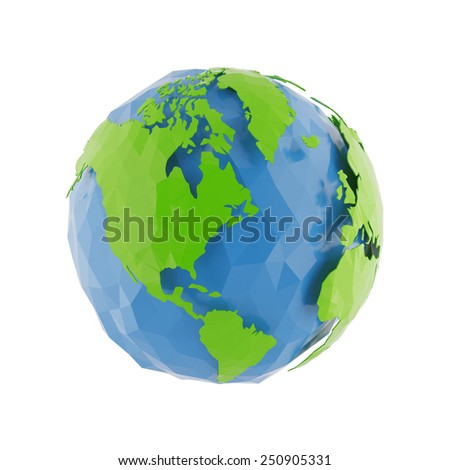 3d Globe Earth icon of the world in abstract triangle style on white background. Lowpoly stylized. - stock photo