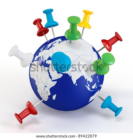 3d globe with colored pushpins on white background - stock photo