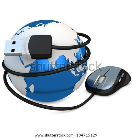 3d globe with mouse, global connection concept on white