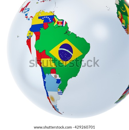 3D globe with national flags - 3D illustration