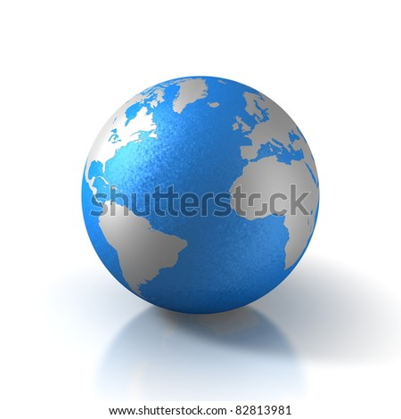 3D globe with water and view over atlantic