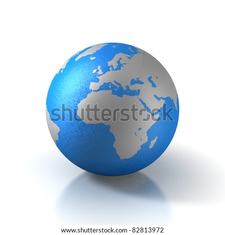 3D globe with water and view over europe
