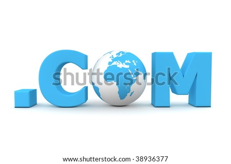 3D globe with word dot com in blue - front view - stock photo
