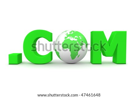 3D globe with word dot com in green - front view - stock photo