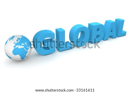 3D globe with word Global in blue