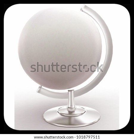3d globe without map texture concept in white isolated background , front angle view