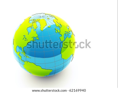 3d glossy green earth on white background - stock photo