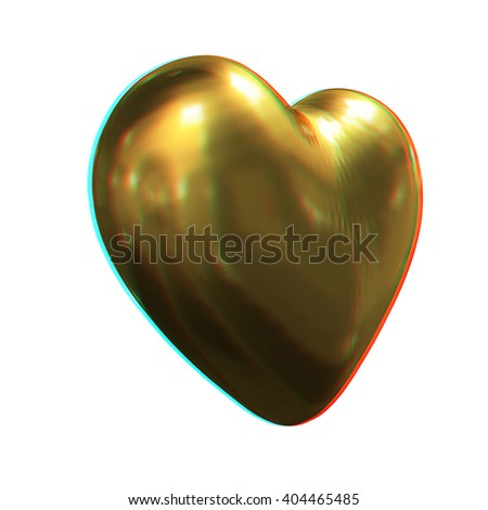 3d glossy metall heart isolated on white background. 3D illustration. Anaglyph. View with red/cyan glasses to see in 3D. - stock photo