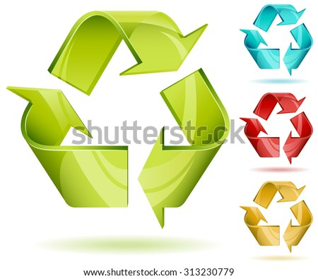 3D glossy recycle icon isolated on white with color variants. - stock photo