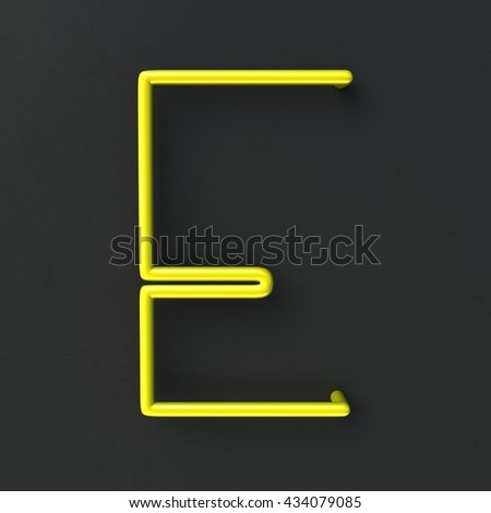3d glowing Wire Neon Font with soft shadows on dark background. Letter E. 3d rendering isolated. - stock photo