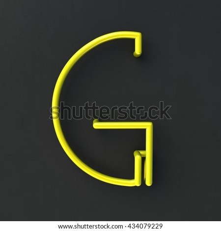 3d glowing Wire Neon Font with soft shadows on dark background. Letter G. 3d rendering isolated. - stock photo