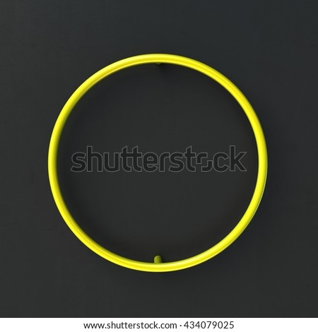 3d glowing Wire Neon Font with soft shadows on dark background. Letter O. 3d rendering isolated. - stock photo
