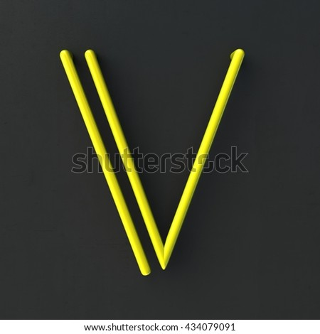3d glowing Wire Neon Font with soft shadows on dark background. Letter V. 3d rendering isolated. - stock photo