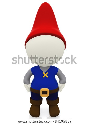 3D gnome - isolated over a white background