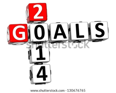 3D Goals 2014 Crossword on white background - stock photo