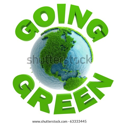 3D Going Green Planet America - stock photo