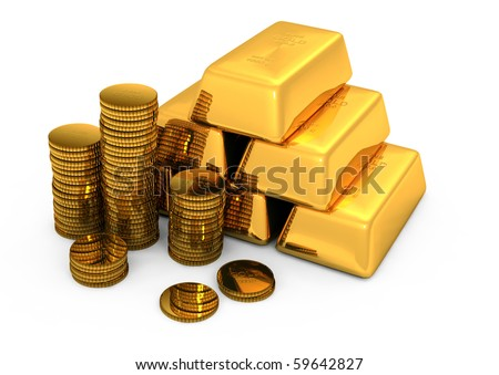 3d gold - stock photo