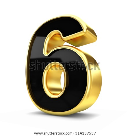 3d gold and black metal number 6 isolated white background - stock photo