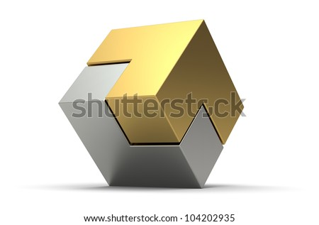 3d gold and silver cube isolated on white background - stock photo
