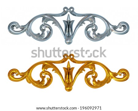 3d gold and silver patterns on a white background