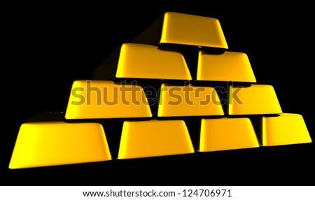 3D Gold Bars - stock photo