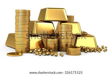 3d gold bars and coins on white - stock photo