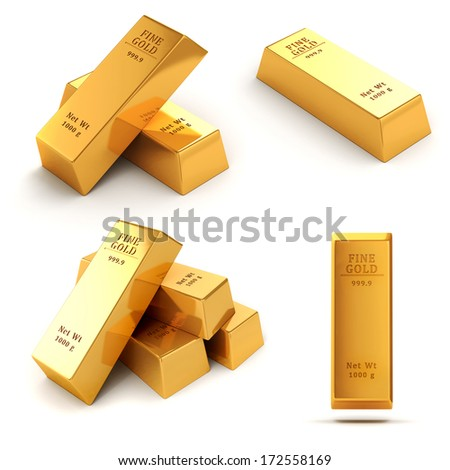 3d gold bars on white background - stock photo
