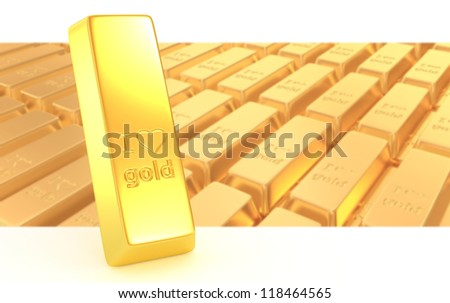 3d gold bullions with hearts background - stock photo