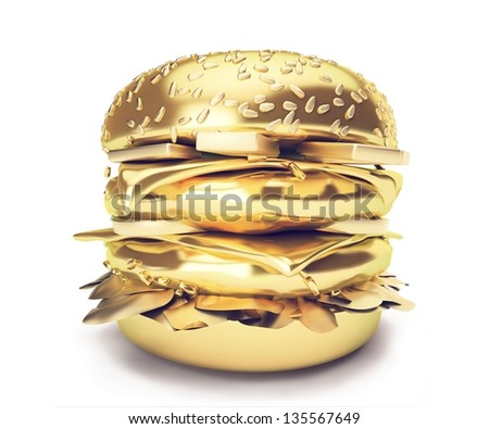 3d Gold burger. An Elegant fast food illustration Hamburger -Big burger with gold texture. Isolated on white background - stock photo
