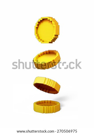 3D Gold Coin volumetric pixel icon, isolated - stock photo