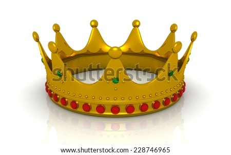 3d Gold crown - stock photo