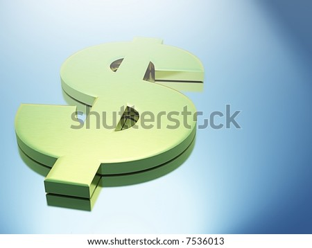 3D Gold Dollar Sign sitting on Metallic Surface with Blurred Reflections - stock photo