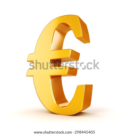 3d gold Euro currency symbol on white background - stock photo
