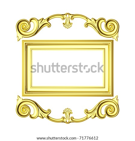 3d gold frame, the sculptural form on a white background
