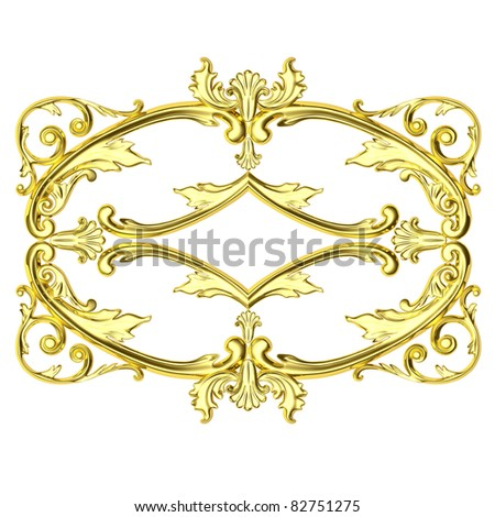 3d gold framework, the sculptural form on a white background