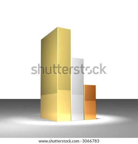 3d gold graph - stock photo