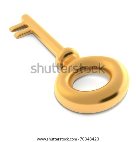 3d gold key isolated on white background