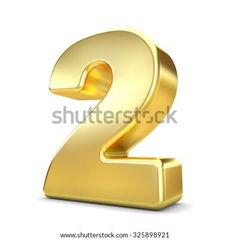 3d gold metal number 2 two isolated white background - stock photo
