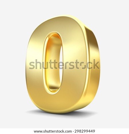 3d gold metal number 0 zero isolated white background - stock photo