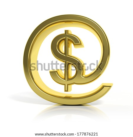 3D gold money online symbol isolated on white